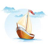 Cartoon image of a wooden sailing boat.
