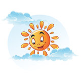 Cartoon image of sun in the clouds
