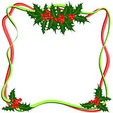Holly berries frame. Christmas symbol vector illustration