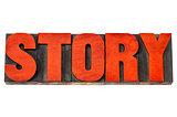 story word in letterpress wood type