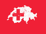 Map of Switzerland with lakes and rivers in colors of the Swiss
