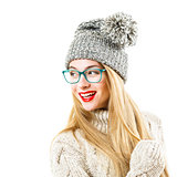Smiling Hipster Girl in Winter Sweater and Hat on White
