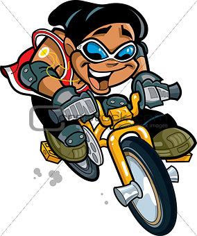 Smiling Boy Riding Bike