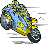 Speeding Motorcycle Racer