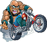 Wild Bald Biker Dude