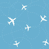 Airplane seamless vector pattern