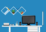 Office desktop workspace. Flat vector mock up