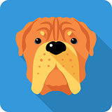 dog  French Mastiff icon flat design