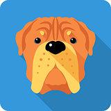 dog  French Mastiff icon flat design