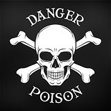 Danger skull vector on black background. Jolly Roger with crossbones logo template. death t-shirt design. Pirate insignia concept. Poison icon illustration.