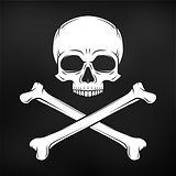 Human evil skull vector on black background. Pirate flag concept design. Jolly Roger with crossbones logo template. death t-shirt concept. Poison icon illustration