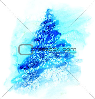 Watercolor illustration  Christmas tree in snow.