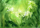 Watercolor background with dandelions