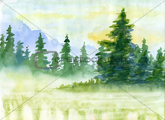 Watercolor background with mountains in fog