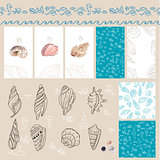 Templates with sea shells and marine symbols.