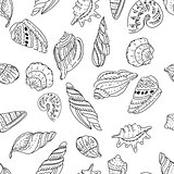 Seamless marine pattern with shells.