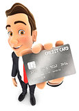 3d businessman credit card