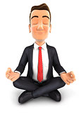 3d businessman doing yoga