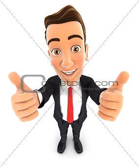 3d businessman thumbs up