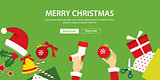 vector merry christmas banner flat design