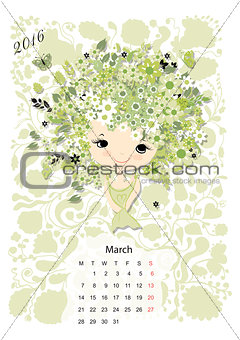 Calendar 2016, marchmonth. Season girls design
