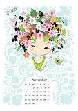 Calendar 2016, november month. Season girls design