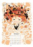 Calendar 2016, october month. Season girls design