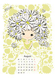 Calendar 2016, august month. Season girls design