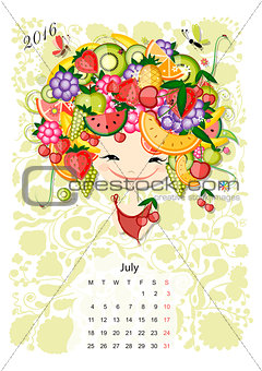 Calendar 2016,july month. Season girls design