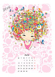 Calendar 2016, june month. Season girls design
