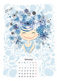 Calendar 2016, january month. Season girls design