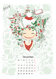 Calendar 2016, december month. Season girls design