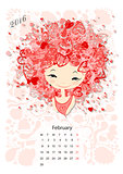 Calendar 2016, february month. Season girls design