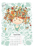Calendar 2016, september month. Season girls design
