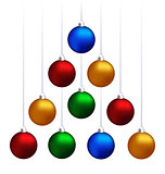 Christmas balls hanging like fir tree