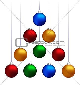 Christmas balls hanging like fir tree