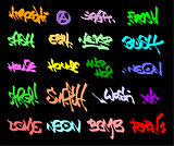 page of bright color graffiti tags on black