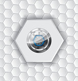 Abstract background with hexagons and shiny button