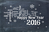Happy New Year 2016 on blackboard