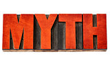 myth word in letterpress wood type