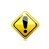 Attention glossy road sign. Vector