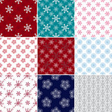 Set seamless patterns with snowflakes