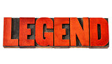 legend word in wood type