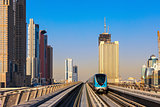 Dubai's Metro with skyscrapers