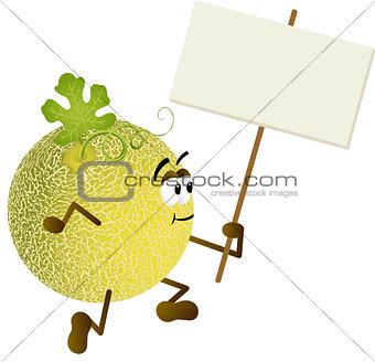 Cantaloupe melon holding blank signboard