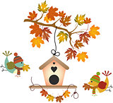 Fall tree leaf and birds