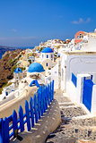 Scenic view of colorful romantic cycladic village on Santorini