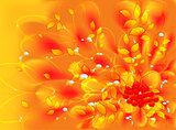 Abstract vector fractal with autumn leaves and rowan. EPS10 vector illustration