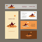 Business cards design. Traveling by camel at pyramids