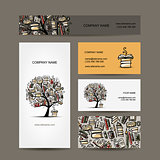 Business cards design with book tree